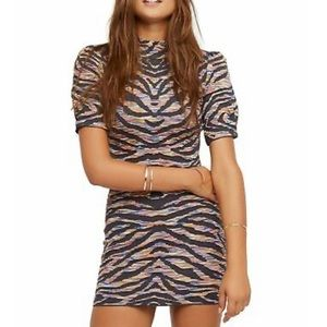 Free People Womens Take Me Out Tiger Printed Bodycon Dress Size Small